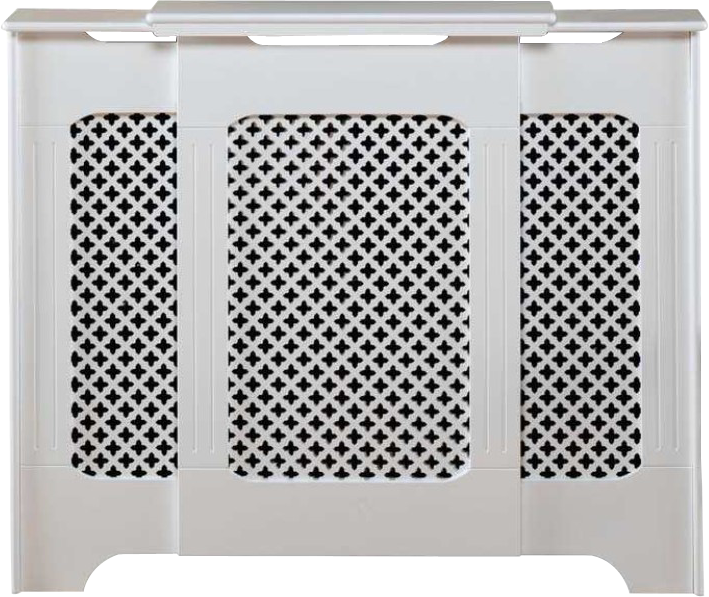 Adjustable Length - Imported Radiator Covers - Plain / Satin White / Oak Lac